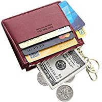 Mini Zipper Key Chain Wallet, PU Leather Credit Card Coins Purse with Key Ring for Women Girls