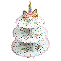 LONG7INES 3段ユニコーン段ボールカップケーキスタンド デザートカップケーキホルダー ベビーシャワー用 性別披露宴 キッズ 誕生日パーティー ユニコーンテーマパーティー