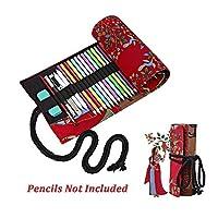Back to School Supplies Essential 2017-blackツリーキャンバススケッチ描画鉛筆ラップポーチRoll Upケースホルダーストレージバッグ鉛筆は含まれません 36Slots Valentoria-pencil case