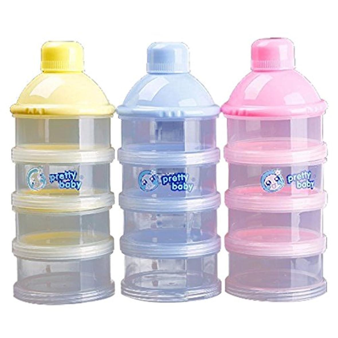 Moligh doll 1xポータブルベビー乳児ミルクパウダー&フードボトルコンテナ4セルグリッドボックス、ランダムな色