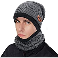 ZIQIAN Men Women Winter Warm Beanie Hat Scarf Set Knit Fleece Lining Skull Ski Cap