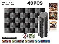 エースパンチ 新しい 40ピースセット グレーと黒 250 x 250 x 50 mm ピラミッド 東京防音 ポリウレタン 吸音材 アコースティックフォーム AP1034