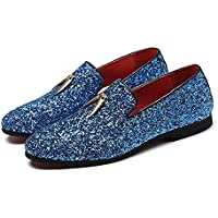 CHENDX Shoes Personality Driving Anti Slip Loafers for Men Gommino Slip on Style PU Leather Upper Luxury Glitter Pointed Toe Metal Tassels Lightweight (Color : Blue, Size : 9.5 UK)