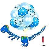 誕生日おめでとう恐竜バナー + 15個のデコレーションバルーン カラフルな恐竜パーティーバナー パーティーデコレーションキット シャワー装飾パーティー用品 赤ちゃん 子供 大人用 フリーエアポンプ