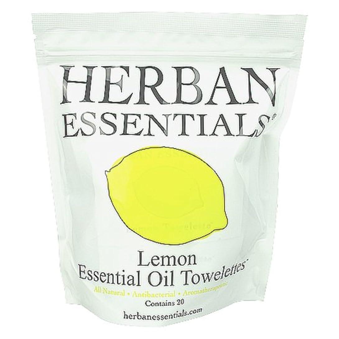 外観ライセンス黒くするハーバンエッセンシャルズ HERBAN ESSENTIALS アロマタオル レモン 20包