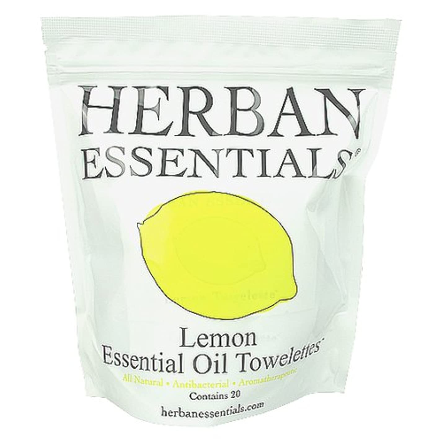 噴出する育成囲まれたハーバンエッセンシャルズ HERBAN ESSENTIALS アロマタオル レモン 20包