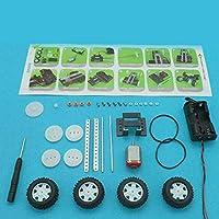 MolySun 知育玩具 DIYの4WDシャーシの素材セット車両スペアパーツモデルおもちゃ四輪駆動車組立おもちゃ教育子どものクラフトおもちゃ 黒