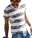 (JOKER Select) Tシャツ メンズ vネック ボタニカル柄 ボーダー 花柄 半袖 カットソー アロハ ビター系 大きいサイズ M C柄グレー(13)