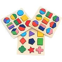 NeeQi 3個セット 木製シェイプパズルブロック チャンキーパズル 幼稚園幾何学形状パズル 分類ゲーム 早期教育玩具