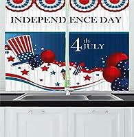 """7月4日装飾カーテンby Ambesonne、特別な国立Celebration Dayアメリカ国旗スタイル濁った図で、リビングルームベッドルームウィンドウドレープ2パネルセットレッド、ブルー 55"""" W By 39"""" L kc_27292_55x39"""