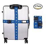 Zenoplige十字型ベルト オリジナルワンタッチ式スーツケースベルト ロック搭載ベルト 十字形 荷物梱包バンド しっかりスーツケースを固まる 旅行 出張用 2個セット (ブルー)