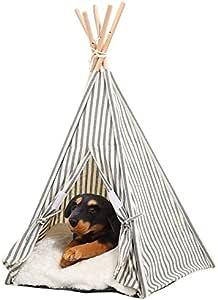 ペット ティピー テント 室内 三角 犬小屋 夏冬 対応 クッション 付き (ブルー)