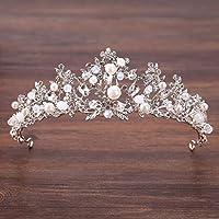 Stylish and Elegant Crown Princess Crown Crystal Big Hoop Crown Performances Birthday Party Senior Royal Treasures Luxury Hair Accessories Children's Headwear Silver Leaf Crown wsd