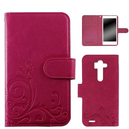 whitenuts LG G3 Beat LG-D722J ケース 手帳型 エンボスデザイン ピンク/百合 WN-OD172585
