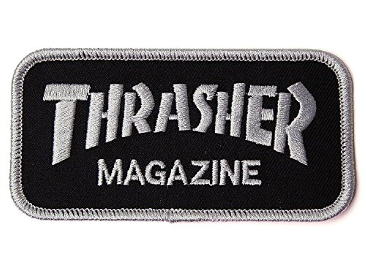 繰り返す六マダム(スラッシャー)THRASHER MAGZINE パッチ ワッペン 刺繍 Iron On Mag Logo Patch Black/Silver(ブラック×シルバー)