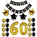 Funpa 風船 バルーン ガーランド 23点セット 誕生日 お祝い パーティー デコレーション 掛け飾り ktv ディスコ バー アルミ箔 (60歳)