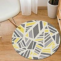 カーペットポリエステルラウンドプリントフロアマット幾何学的ミニマリスト柄カーペット家の装飾コーヒーテーブル用寝室バスルーム出窓 (Color : I, Size : Diameter80cm)