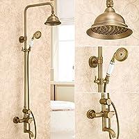 家庭の照明- 銅アンティークヨーロッパスタイルのレトロシャワーセットシャワードラゴンリフト回転温水と冷水 (色 : D)