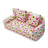 ULTNICE Miniature Furniture Flower Print Sofa Couch with 2 Cushions