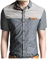 GOLDPKF スタンダード シルエット バイカラーシャツ カジュアル 半袖 ファッション メンズ グレー L