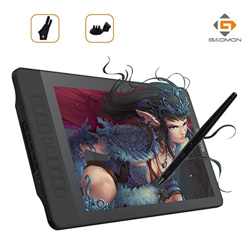 GAOMON drawing tablet with screen PD1560 15.6 inch IPS HD With 10 shortcut keys and a pen display stand with 8192 level wireless rechargeable pen