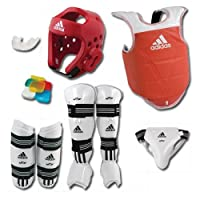 AdidasテコンドーComplete Sparring Gear Set with Shin Instep – レッド – adult-xlarge