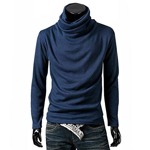 BUZZxSELECTION(バズ セレクション) メンズアフガンタートルネック 長袖 カットソー メンズ スタイリッシュ カジュアル ロング Tシャツ TSL003 (ブルー,XL)