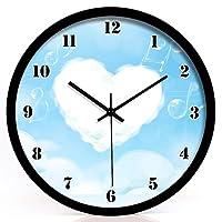 壁掛け時計大 シンプルでクリエイティブアート腕時計ラブデコレーションクォーツ時計ミュート壁掛け時計リビングルームクリエイティブ時計 デジタル時計 壁掛け (Color : Black, Size : 10 INCHES)
