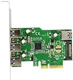 エアリア SPORT QUATTRO PCI Express x4 接続 Etronチップ搭載 USB3.0 ボード 外部3ポート 内部1ポート ロープロファイル対応 SD-PE4U3E-3E1L