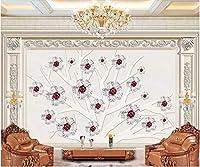 Bzbhart 3Dの 壁紙エンボス木の花の背景ホームセンターのリビングルームの壁紙-450cmx300cm