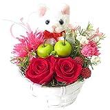 花 誕生日プレゼント女性 花 プリザーブドフラワーのバラと白ねこのフラワーアレンジメント ネコの アレンジメント (ねこ白)