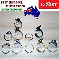 Whole Set Kids Childrens Rings Dog Elephant Horse Cat Paw Gold SIlver Black Ring