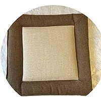 綿とリネンクッション クッションシンプルウインター畳クッション粗布クッションオフィスクッション学生クッション布団,ブラウンサイドベージュ,45 * 45センチメートル