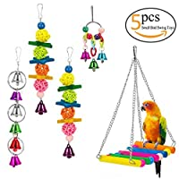 MEWTOGO Pack of 5 Bird Chewing Toy Bird Hanging Bell Toy Pet Parrot Cage Hammock Swing for Small Medium Birds [並行輸入品]