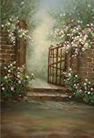 Gardenia Dream Garden Flower Photography Backdropレンガ壁レトロアイアンドア背景花写真バックドロップ写真撮影プロップ5x 7ft