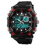 Aubigメンズ男の子のマルチ機能デジタルLED anglog電子スポーツ腕時計Watchesレッド