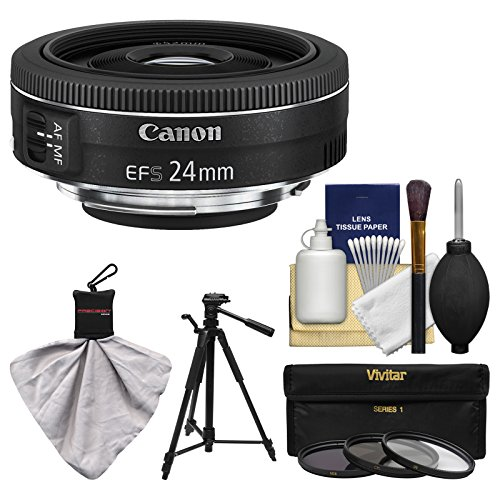 Canon EF - S 24?mm f / 2.8?STM Wide Angle Lens with 3フィルタ+フード+キットfor EOS 6d、70d、7d 5dマークII III, Rebel t3、t3i、t4i、t5、t5i、sl1?DSLR