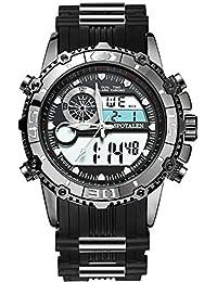 メンズ腕時計 電子運動ウォッチ ブラック クォーツ 日常的な防水 アナデジ表示 SPOTALEN