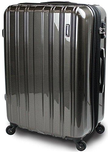 スーツケース TSAロック 搭載 超軽量 レグノライト2016~3サイズ( 大型 ジャスト型 中型 ) ミラー加工 旅行かばん キャリーバッグ トランク 【SUCCESS サクセス】 (ジャスト型 70㎝, カーボンブラック)