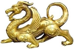 風水 魔よけ 龍の置物 銅製 ヤアズ(睚眦)