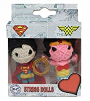 SUPERMAN Originals, Superman-Wonder Woman, Officially Licensed Original DC Comic Hero Artwork 2 Pack KEYCHAIN Set