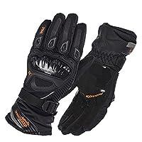 ST-07バイクグローブ バイク用品 街乗 りに 全8色 手袋 メンズ繊维 保護スマートフォン サイクル用 通気性 (L, ブラック(冬用))