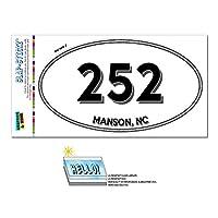 252 - マンソン, NC - ノースカロライナ州 - 楕円形市外局番ステッカー