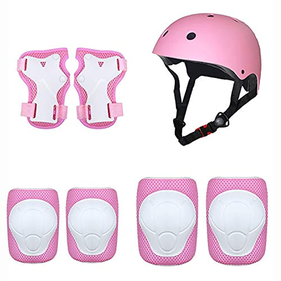 病成功患者子供用防護服セットヘルメット用肘パッドリストバンド黒膝パッド7組のローラースケートBAAYDフルスケートボードスケートバランスバイク保護-Pink