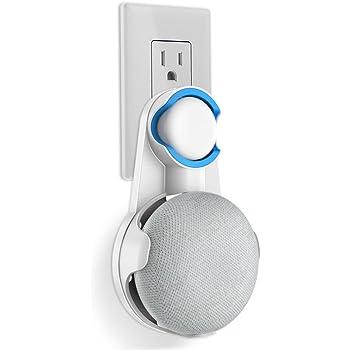 Google Home Mini 壁掛け ホルダー スピーカー マウント スタンド カバー 保護ホルダー 滑り止めゴム付き コード収納 グーグルホームミニ アクセサリー (ホワイト)