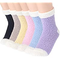 Plush Slipper Socks Women - Colorful Warm Crew Socks Cozy Soft 6 Pairs for Winter Indoor