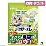 デオトイレ 飛び散らない緑茶・消臭サンド 2L お買い得6袋入り 猫砂 紙 燃やせる