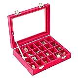Barcarolle 24区画 ベロア調 コレクション ボックス アクセサリーボックス ジュエリーボックス アクセサリー ジュエリー 20.0x15.0x4.5cm (Pink)
