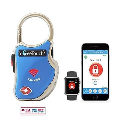 eGeeTouchスマートトラベルロック(TSA南京錠)持ち物のセキュリティー性を高め、持ち物を追跡し盗難や置忘れに役立つスマート機能搭載(青)