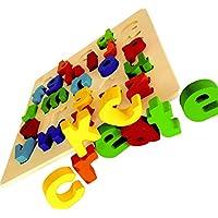 【KCcreate】 知育玩具 パズル 教育 木のおもちゃ 形合わせ はめ込み 英語 数字 算数 アルファベット ナンバー 幼児 (アルファベット小文字)